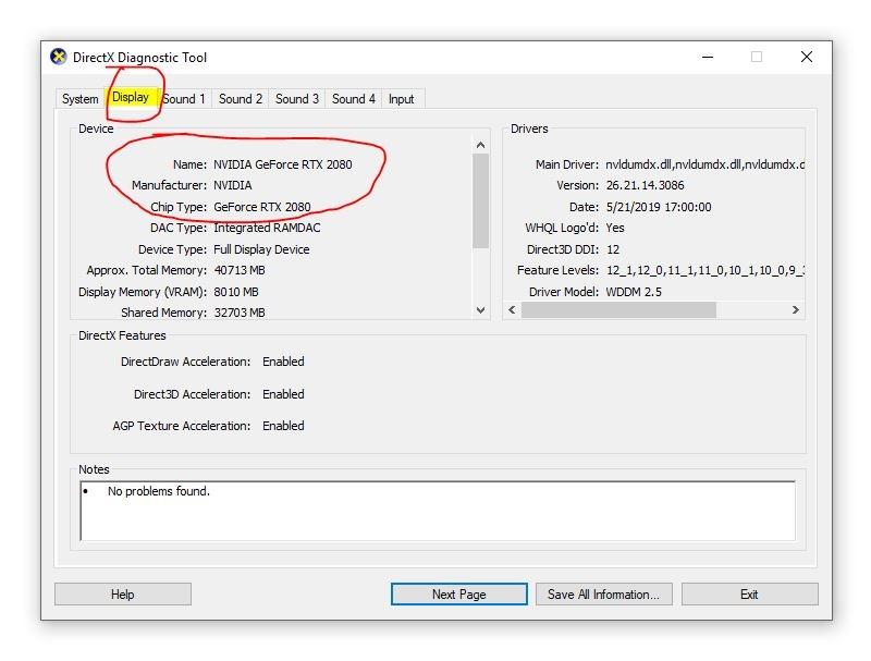 DirectX Diagnostic Tool Nvidia GeForce RTX